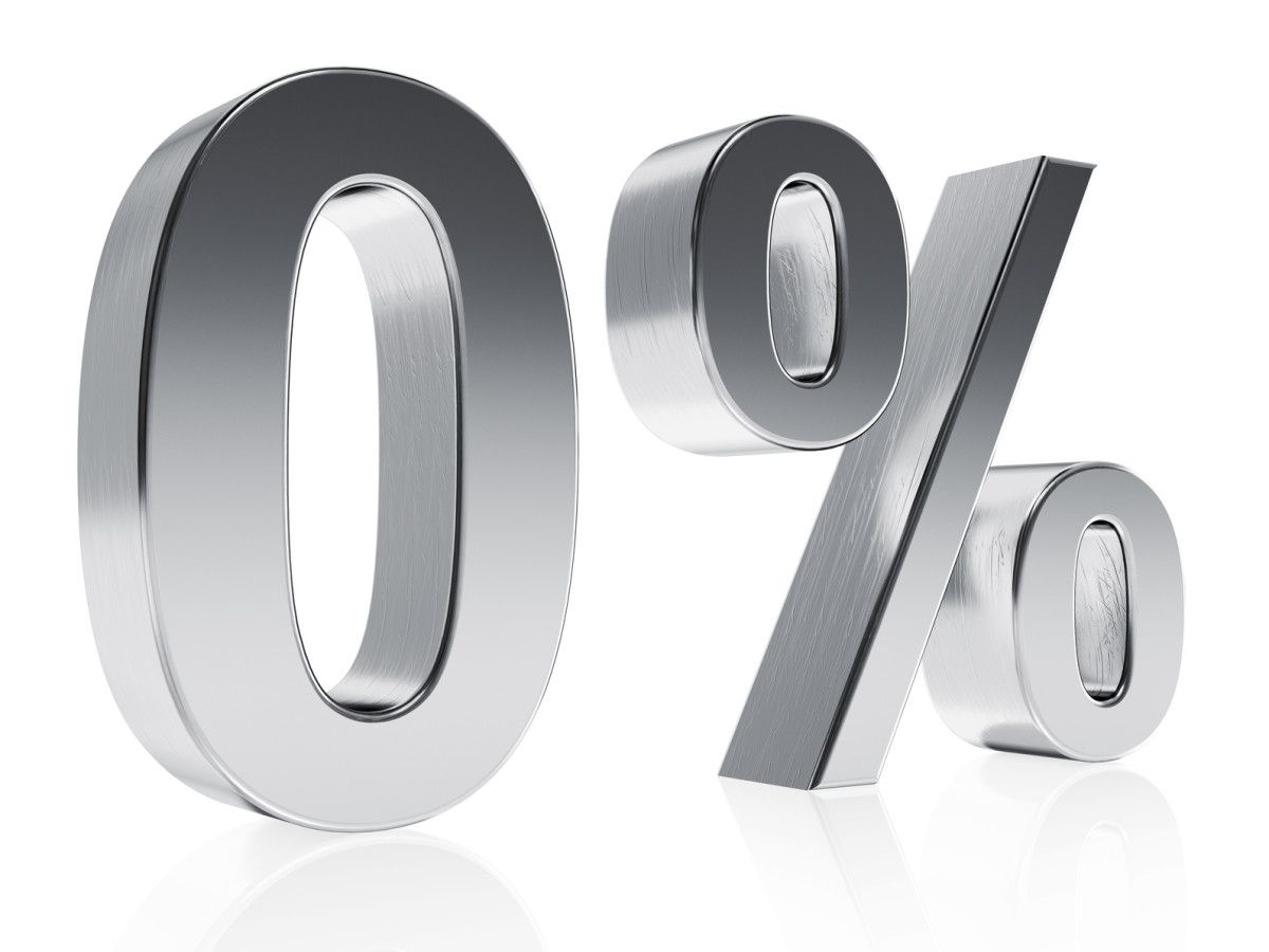 Realistic silver rendering of a symbol for 0 % discount or gain